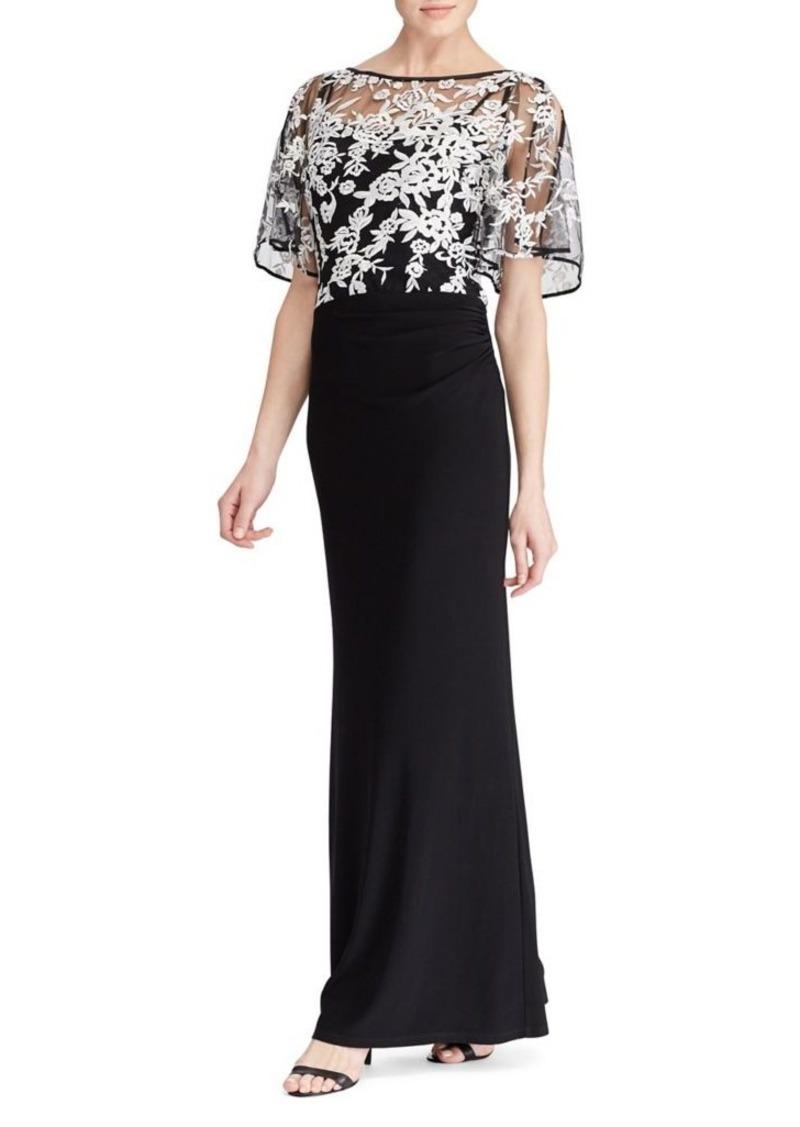 Lauren Ralph Short Sleeve Evening Dress