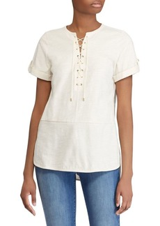 Lauren Ralph Lauren Short Sleeve Lace-Up Tunic