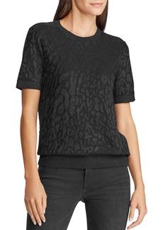Lauren Ralph Lauren Short-Sleeve Metallic Jacquard Sweater