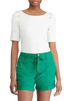 Lauren Ralph Lauren Shoulder-Button Stretch Top