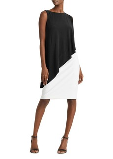 Lauren Ralph Lauren Sleeveless Asymmetric-Cape Dress