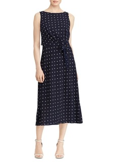 Lauren Ralph Lauren Sleeveless Dot-Print Dress