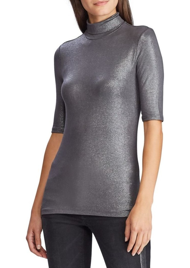 Lauren Ralph Lauren Slim-Fit Stretch Metallic Top