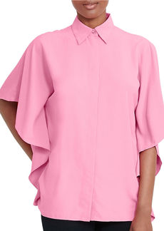 LAUREN RALPH LAUREN Solid Draped Blouse