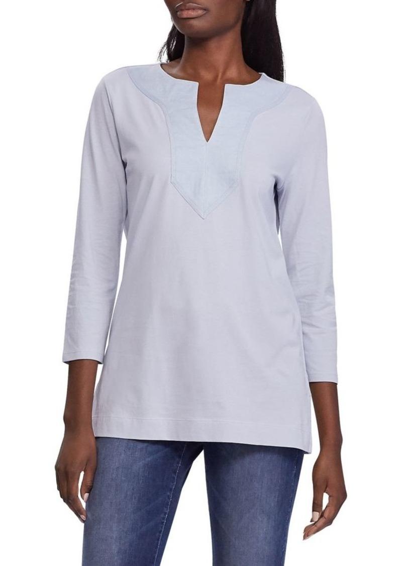 Lauren Ralph Lauren Split Neck Cotton & Linen-Blend Top
