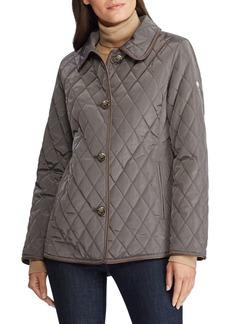 Lauren Ralph Lauren Straight-Fit Faux Leather-Trimmed Quilted Coat