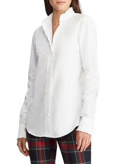 Lauren Ralph Lauren Straight-Fit Ruffle-Trim Broadcloth Shirt