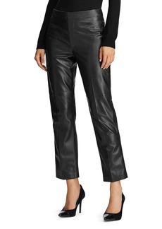 Lauren Ralph Lauren Straight-Leg Leather Ankle Pants