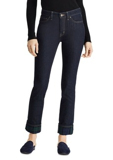 Lauren Ralph Lauren Straight Plaid Cuff Jeans in Blue Multi
