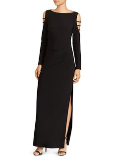 Lauren Ralph Lauren Strappy Cold-Shoulder Gown