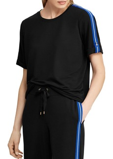 Lauren Ralph Lauren Stripe Button Cuff Top