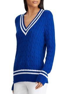 Lauren Ralph Lauren Stripe Cable Knit Cricket Sweater