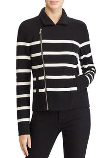 Lauren Ralph Lauren Stripe Knit Moto Jacket