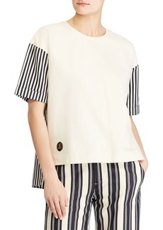 Lauren Ralph Lauren Stripe-Sleeve Drop-Shoulder Tee