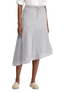 Lauren Ralph Lauren Striped Asymmetric-Hem Skirt