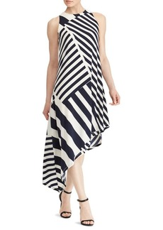 Lauren Ralph Lauren Striped Asymmetrical Jersey Dress