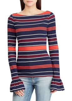 Lauren Ralph Lauren Striped Bell-Sleeve Tee
