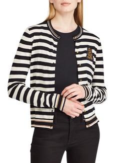 Lauren Ralph Lauren Striped Bullion-Patch Cardigan