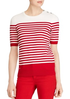 Lauren Ralph Lauren Striped Button-Shoulder Sweater