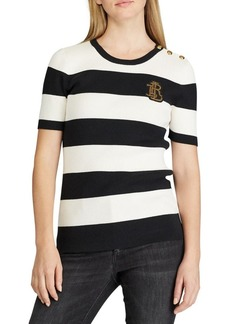 Lauren Ralph Lauren Striped Button-Trim Sweater