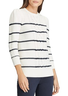 Lauren Ralph Lauren Striped Cable Knit Sweater