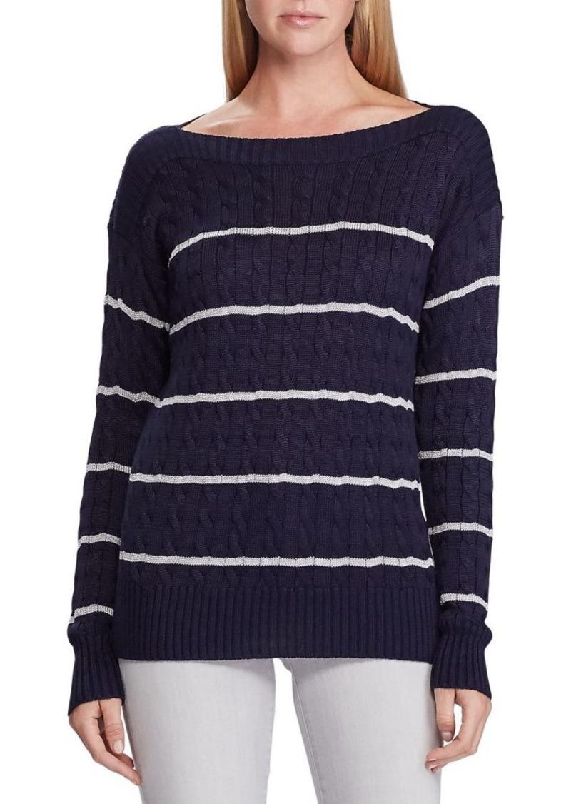 Lauren Ralph Lauren Striped Cable-Knit Sweater