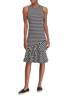 Lauren Ralph Lauren Striped Cascade Ruffle Dress