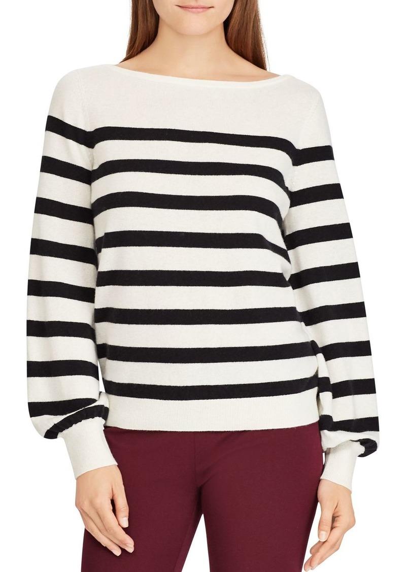 Lauren Ralph Lauren Striped Cashmere Blouson-Sleeve Sweater - 100% Exclusive