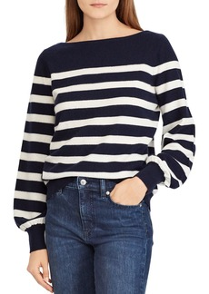 Lauren Ralph Lauren Striped Cashmere Blouson-Sleeve Sweater - 100% Exclusive