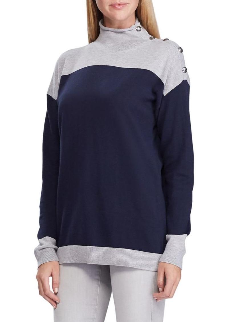 Lauren Ralph Lauren Striped Colorblock Cotton-Blend Sweater