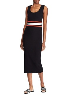 Lauren Ralph Lauren Striped Cotton Blend Midi Dress