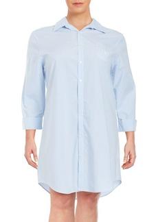 Lauren Ralph Lauren Striped Cotton-Blend Sleepshirt