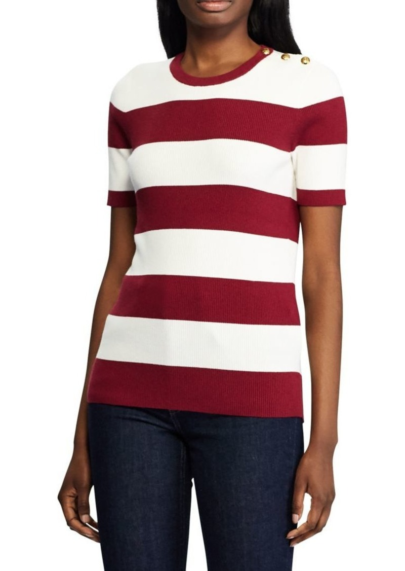 Lauren Ralph Lauren Striped Cotton Blend Top