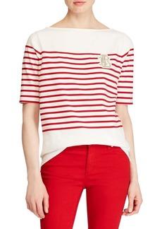 Lauren Ralph Lauren Striped Cotton Boatneck T-Shirt