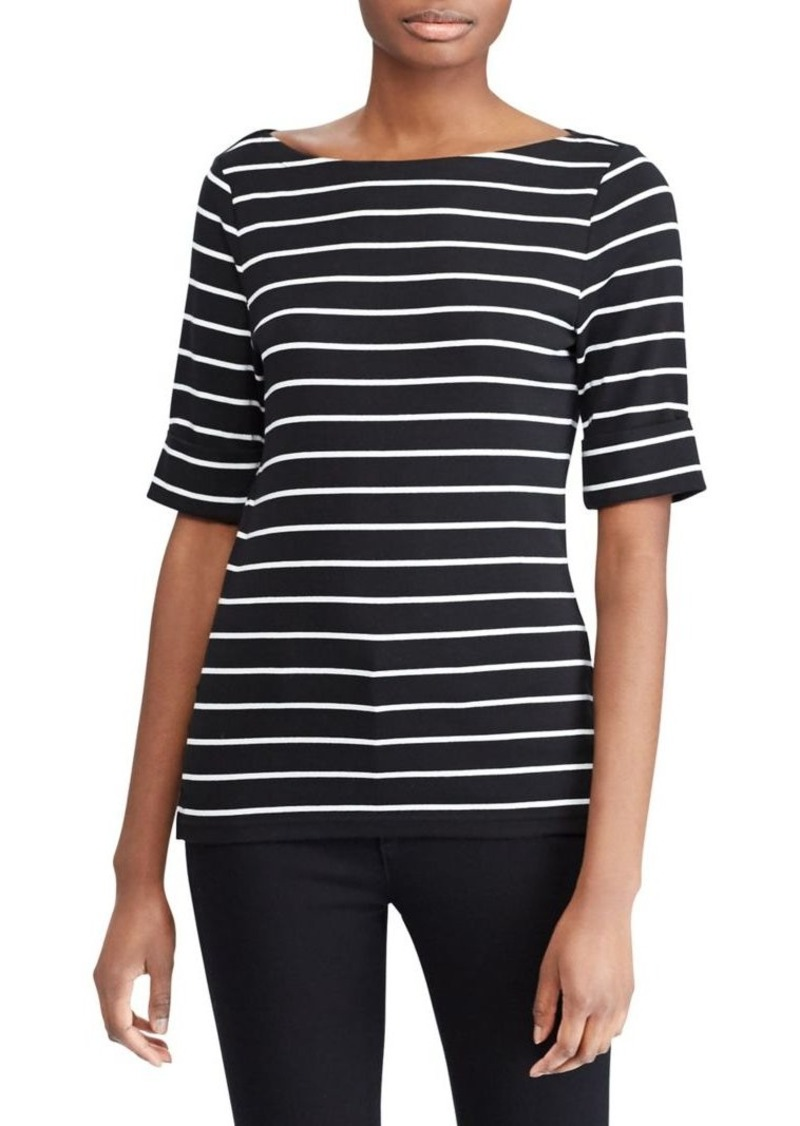 Lauren Ralph Lauren Striped Cotton Boatneck T-Shirt