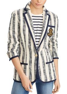 Lauren Ralph Lauren Striped Cotton Boucl� Logo Patch Blazer