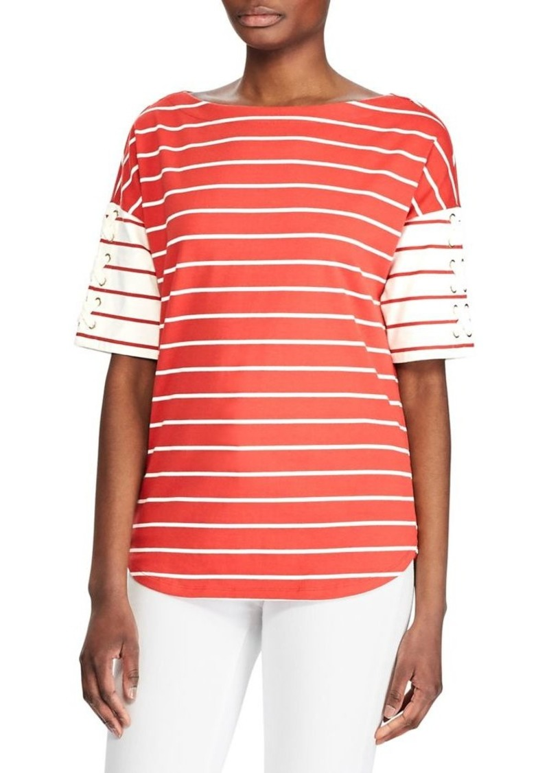 Lauren Ralph Lauren Striped Cotton Lace-Up Top