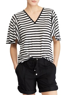 Lauren Ralph Lauren Striped Flutter-Sleeve Tee