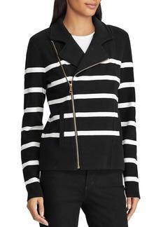 Lauren Ralph Lauren Striped Knit Moto Jacket