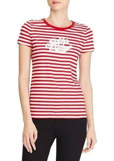 Lauren Ralph Lauren Striped Lace-Logo T-Shirt