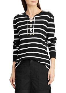 Lauren Ralph Lauren Striped Lace-Up Cotton Top