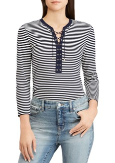 Lauren Ralph Lauren Striped Lace-Up Tee