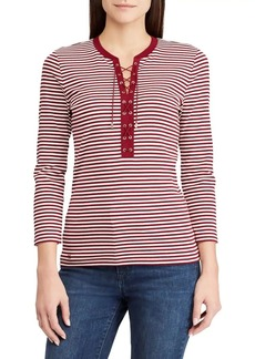 Lauren Ralph Lauren Striped Lace-Up Top