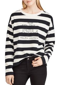 Lauren Ralph Lauren Striped Logo Sweatshirt