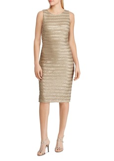 Lauren Ralph Lauren Striped Metallic Sheath Dress