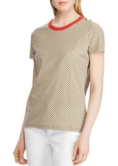 Lauren Ralph Lauren Striped Shoulder-Button Tee