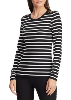 Lauren Ralph Lauren Striped Suede-Detail Waffle Knit Top