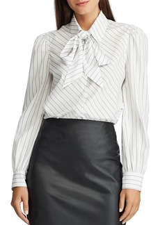 Lauren Ralph Lauren Striped Tie-Neck Shirt