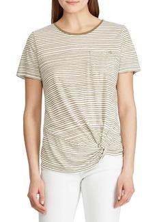 Lauren Ralph Lauren Striped Twist-Front Pocket Tee