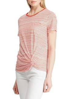 Lauren Ralph Lauren Striped Twist-Knot Linen-Blend Pocket Tee